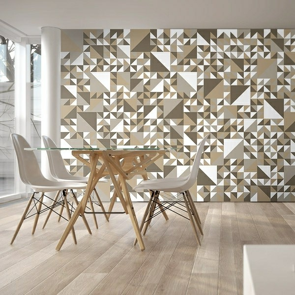 designer wallcover in dining room - Wall Covering Designs