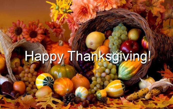 two cornucopia ornaments, big and small, red, pink, orange and yellow flowers, autumn leaves of all colors, gourds, pumpkins, pears, apples, oranges, grapes, corn cobs, pine-cone, chestnuts, white festive writing