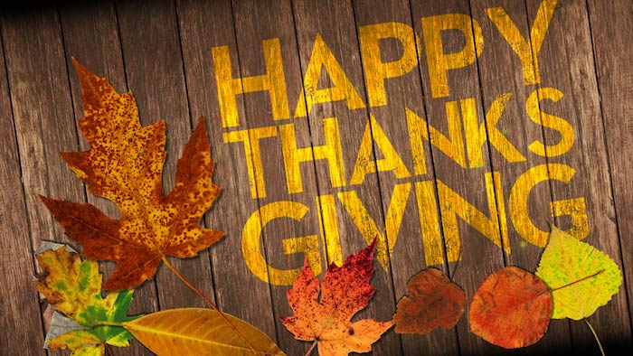 wooden planks, with yellow writing spelling out happy thanksgiving, red, brown, green, yellow and orange autumn leaves