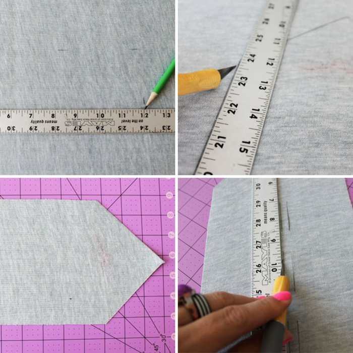 father's day craft ideas, delineating the faux leather with a pencil and a metal ruler, cutting along the lines to make a flap and hoops, green pencil, yellow knife, pink cutting mat