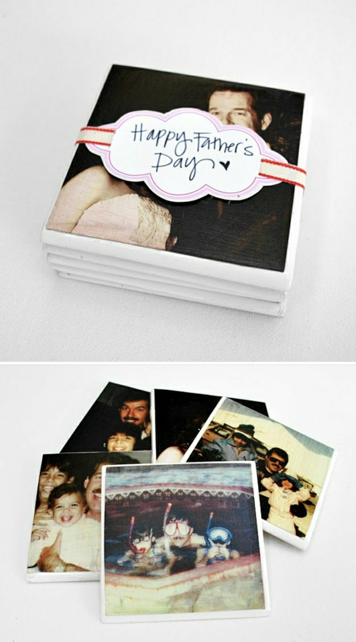"father's day gifts from daughter, coasters made using family photos, tied with a white, pink and red ribbon saying ""happy father's day"", white background"