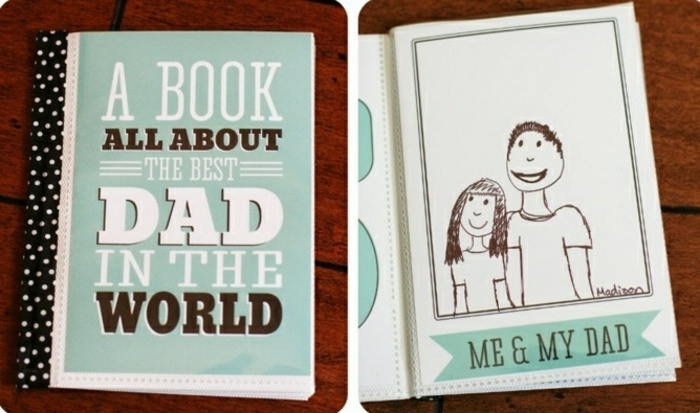 father's day homemade gifts, handmade book, pale blue-green color, on a dark brown wooden table, containing kid's drawings