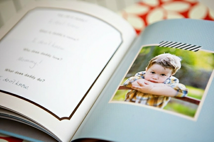 father's day homemade gifts, handmade book, white and pale blue color, containing kid's writing and photo