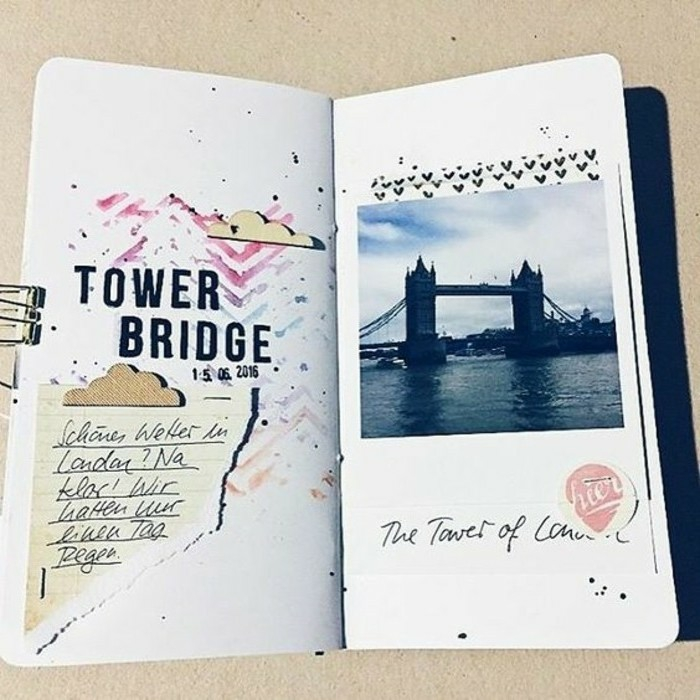 scrapbook ideas for beginners, a photo of tower bridge, clouds shapes, paper clip, stickers, hearts, colorful patterns, black writing