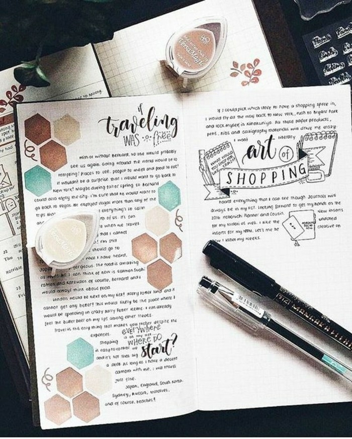 scrapbook ideas for beginners, two notebooks, squared paper, lots of writing, hand drawn details in brown and blue, pens, paints
