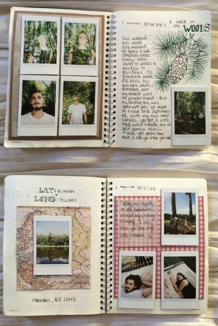 scrapbook layouts, journals with lots of photos, a map, a drawing of a pine branch with pine-cone, writing, light background