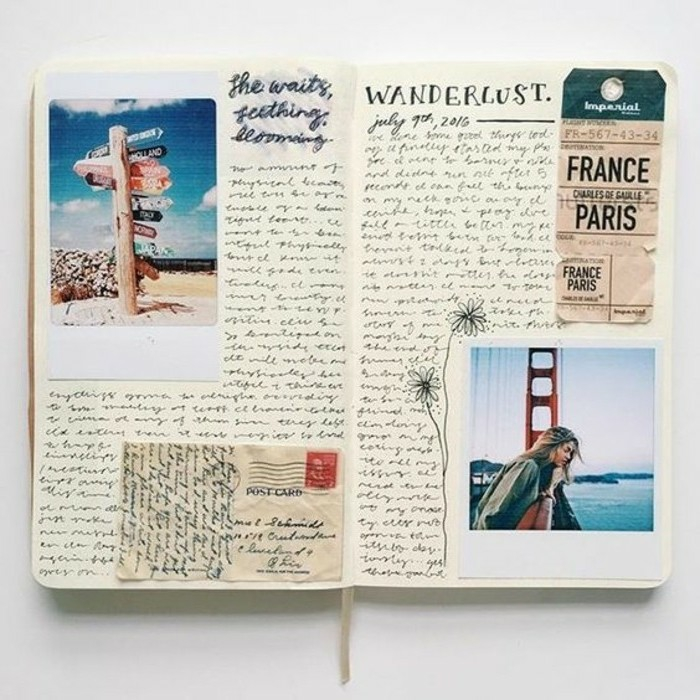 scrapbook layouts, open sketchbook with photos, a ticket, a letter cutout with stamp, flower drawing, lot of writing, white background