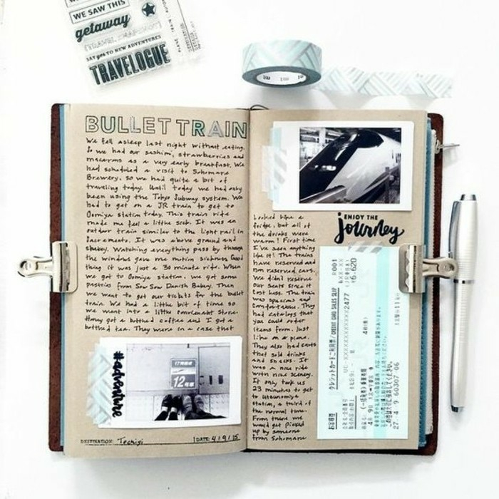 scrapbook page ideas, journal with light brown paper, two photos, a ticket, lots of writing, clipped with two paperclips, near a pen, sticky tape