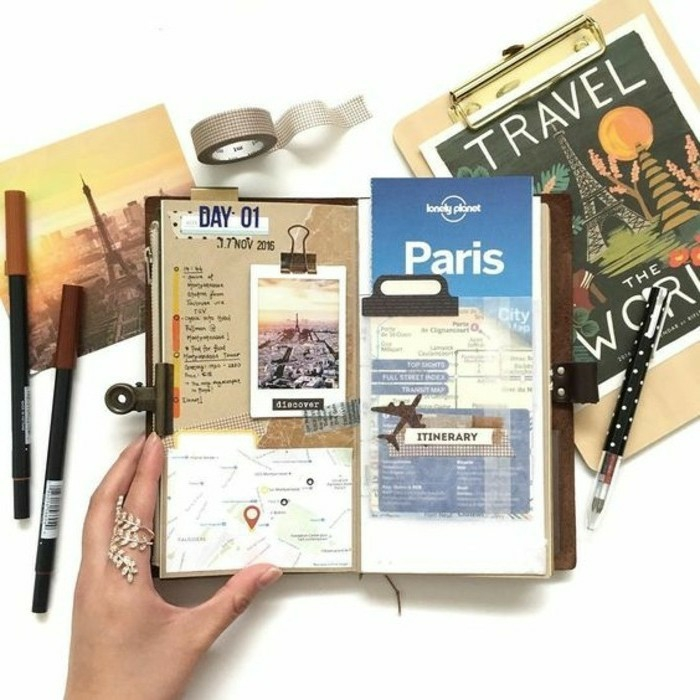 scrapbooking made simple, small journal, held by a hand with a ring, containing a map, a photo and a plane ticket, color pens, postcards of the Eiffel tower