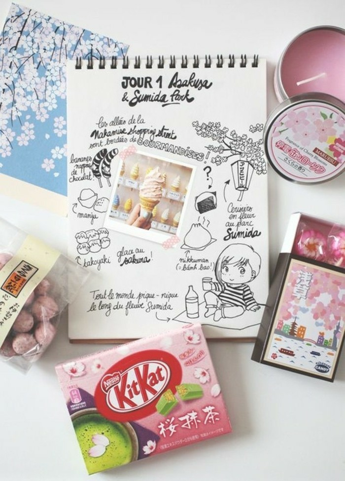 scrapbooking made simple, drawing pad, cute drawings of food and a chibi, postcard, pink Japanese sweets, pink candle
