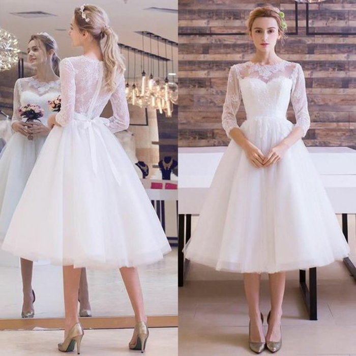 tea length wedding dresses, two images of a bride facing forward and back, with calf-length white dress with sheer lace sleeves and back, blond hair in a pony tail