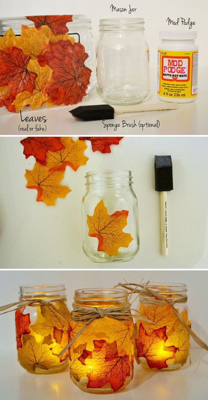 thanksgiving pictures, a clear mason jar, red, yellow and orange autumn leaves, masking glue, sponge brush, orange leaf stuck to mason jar near a sponge brush, autumn leaves in the background, three mason jars adorned with leaves and tied with string with lit candles inside