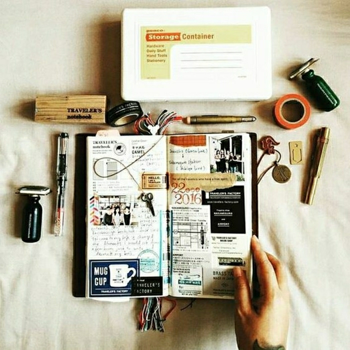 travelogue, small journal, photos, stickers, cutouts, small scissor charm on a string, pens, stamps, sticky tape, pencil box