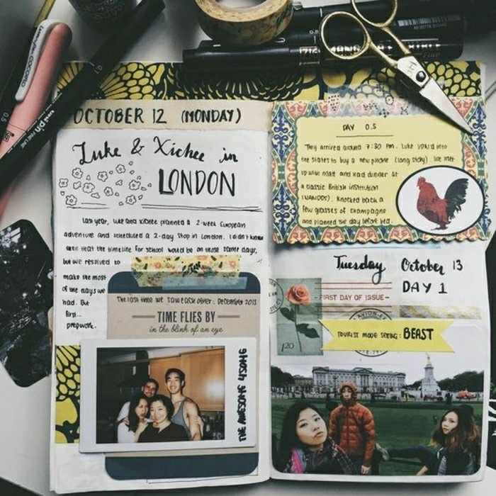 travelogue, notebook with writing, two photos, stickers, decorative tape, stamp, scissors, sticky tape, pens, white background