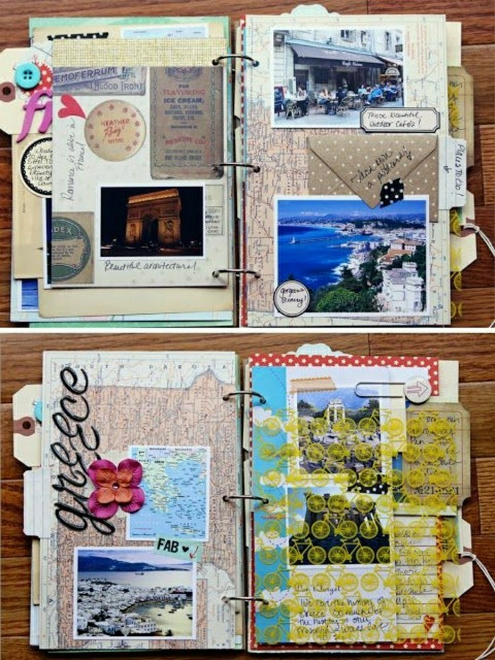 travelogue, open journals with metal binding, lots of postcards, colorful cutouts, photos, a pin and orange flower, tiny yellow bicycles, wooden background