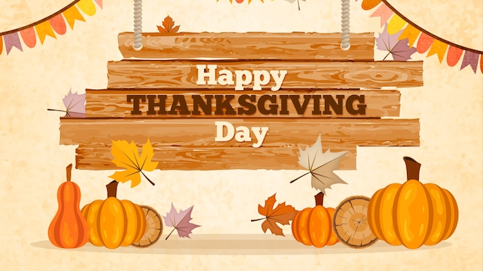 drawing of brown wood planks with the message happy thanksgiving day, hanging on ropes, near colorful banners, red, brown and orange autumn leaves, and six pumpkins of different sizes