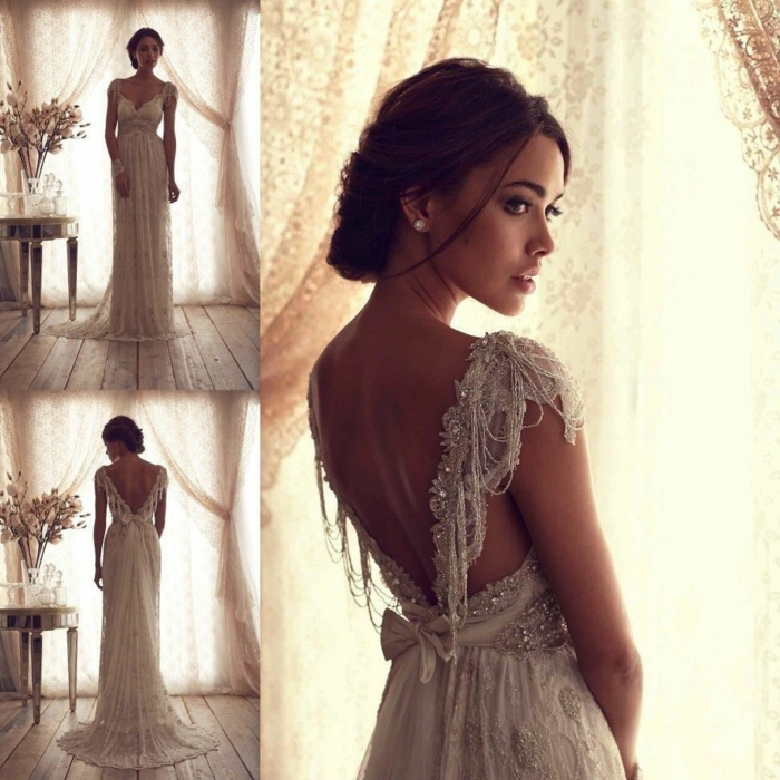 vintage wedding dresses, three images of a bride facing forwards backwards and a close up, long gown with glittering beads embroidery and a bow, in a room with wooden floors table with flowers and curtains