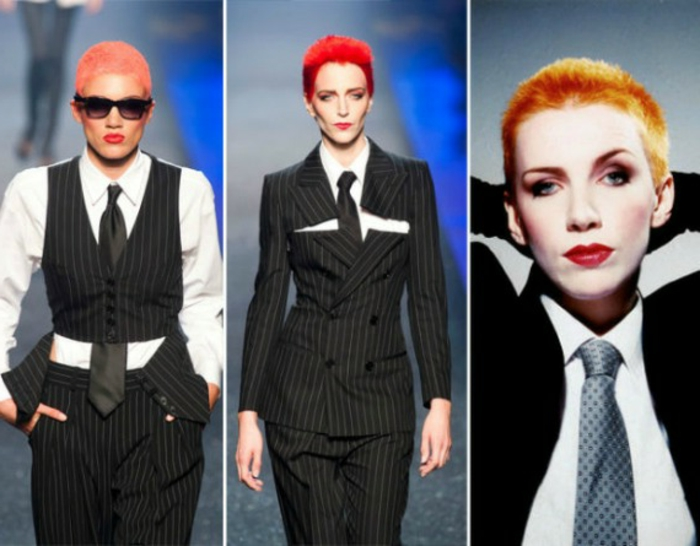 three images of women wearing variations of pin stripe suits and black ties, very short red and orange hair, hands in pockets and behind head