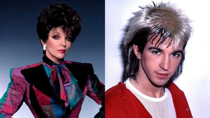 image of woman with short tall curly hair and heavy make up, wearing a padded tailored jacket in pink black red and blue, next to a photo of a young man with silver and black mullet, red jacket and white mesh top