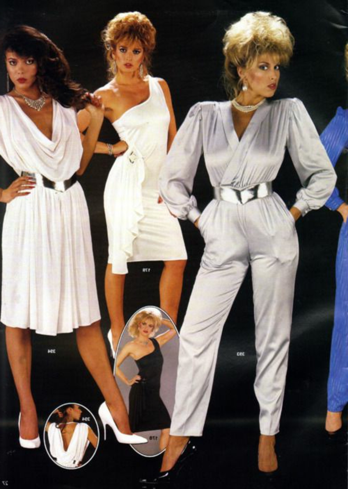 Throwback Outfits Brunette Woman Wearing Flowing Knee Length White Dress With Silver Belt 80s Fashion Total Disaster Or Genius Style