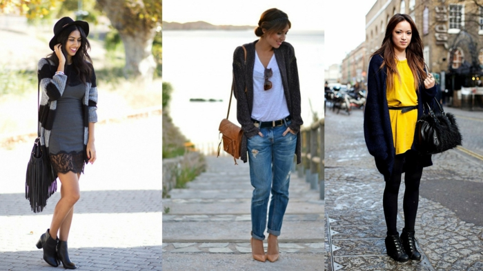 business casual dresses, grey mini dress with wide lace hem, bright yellow dress with black belt, big cardigans and black ankle boots, jeans and a white top, worn by three different women