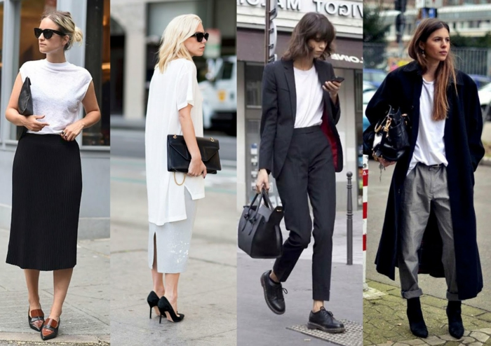 interview outfits for women, four smartly dressed women, ankle-length skirts, white tops, business suit and oversized coat