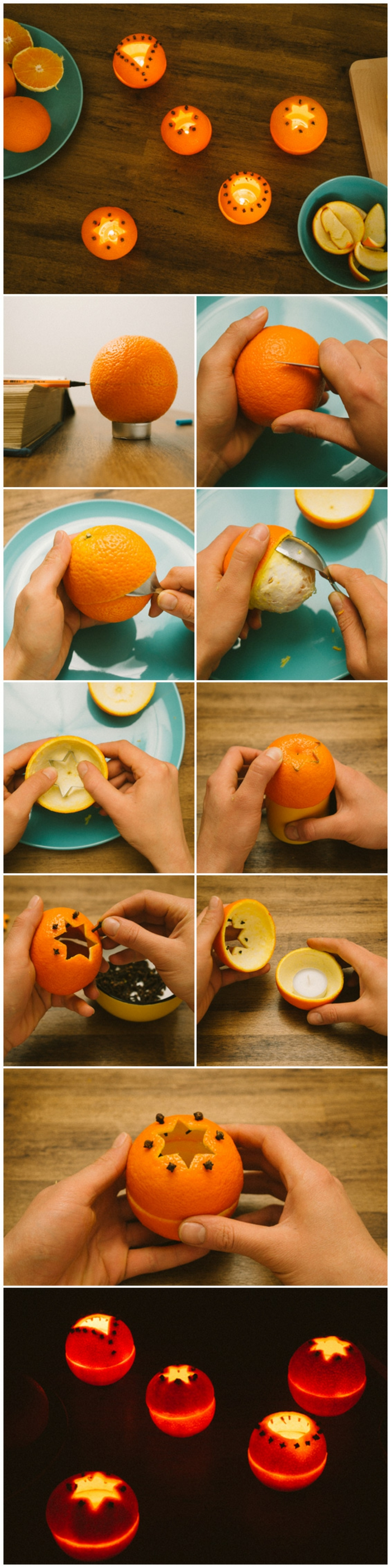 several lanterns made from hollowed oranges, a book and pen next to an orange, hands holding peeling and carving orange, hands cutting orange peel with cookie cutter and decorating it with spices, glowing decorated orange lanterns