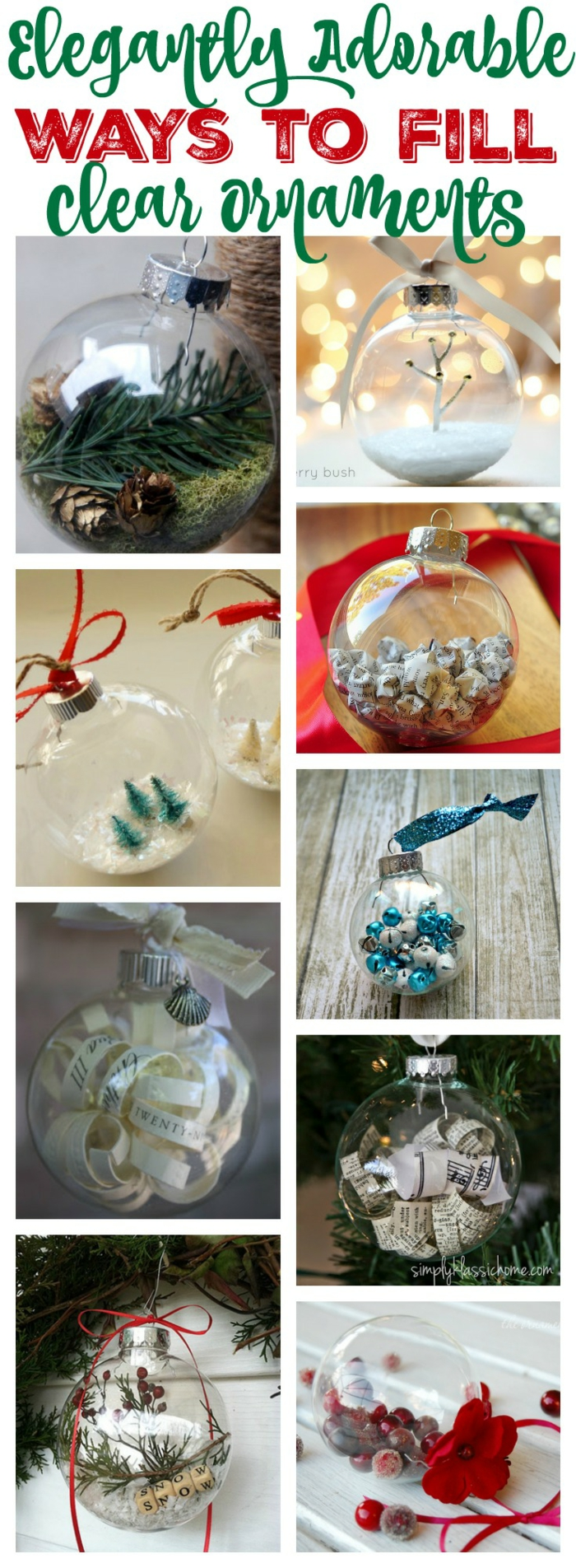 cheap christmas gift ideas, nine images of clear christmas baubles or ornaments, filled with green twigs and fake snow, miniature trees and folded paper