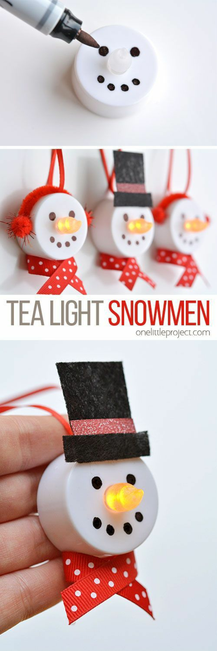 marker near a white electric tealight with a simple snowman face drawn on it, three lights made to look like snowmen with glowing noses, red earmuffs and scarves and a top hat, little red strings, hand holding one of the painted lights