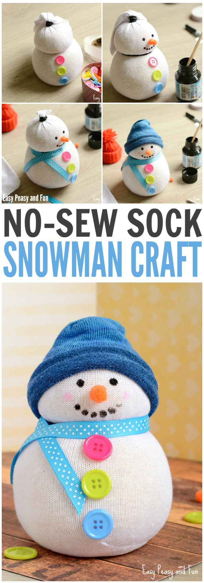 little snowman made from white sock, three colorful buttons, blue ribbon for scarf, pace drawn with black paint, nose made from orange felt, blue sock cutout for hat, more buttons and items in background