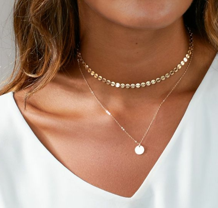 business casual for women, close up of woman's neck, wearing delicate chocker necklace and pendant on thin chain, white top and brown hair