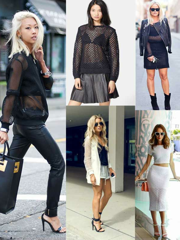 five images of women in black and white outfits, skinny leather trousers and sheer blouse, mesh top and black metallic mini skirt, white coordinated skirt and crop top, shorts and black mini dress