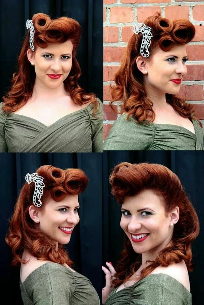 smiling woman with retro auburn hair, with curls and victory rolls, big white hair ornament and green 1950's dress, seen from four different angles