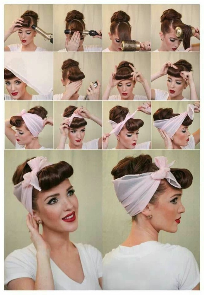 betty bangs, step by step 1950's hair tutorial with 14 images, brunette woman with curling irons, styling her bangs and fixing it with hairspray, pale pink scarf tied around hair in a bow