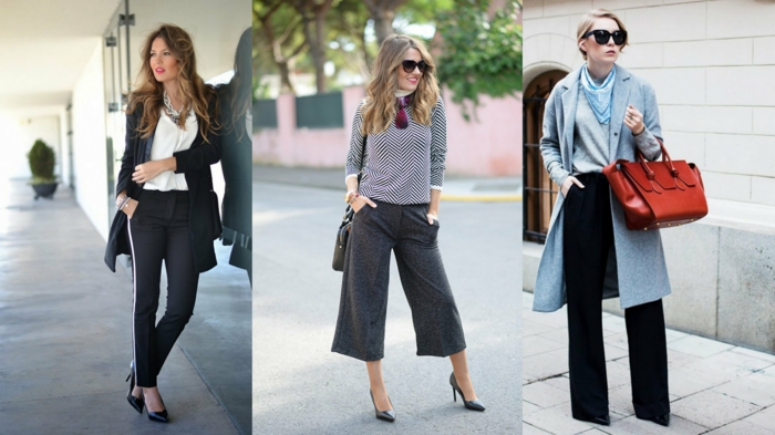 interview outfits for women, three women wearing trousers with different lengths, oversized coat and red bag, sunglasses and accessories