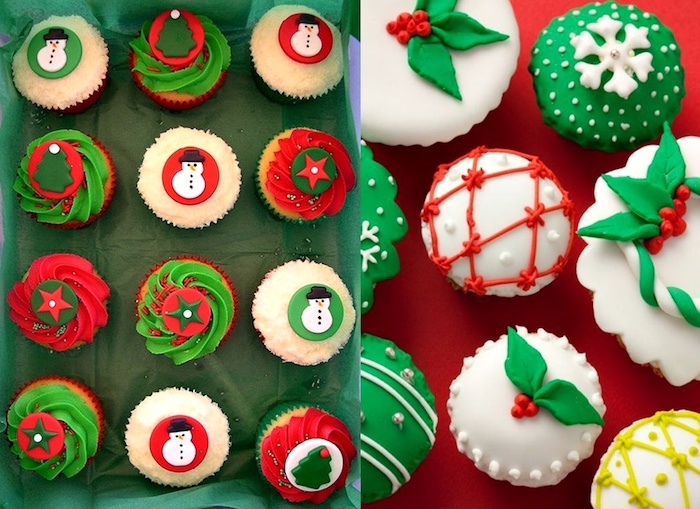 cupcake ideas, twelve cupcakes with white, green and red frosting, decorated with christmas fondant shapes, eight cupcakes, green and white fondant frosting with red green and yellow decorations