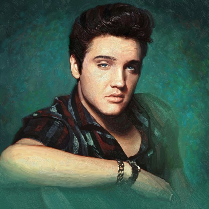 painting of elvis presley, with shiny dark gelled up hair, blue eyes and a red black and grey striped short sleeved shirt, green background