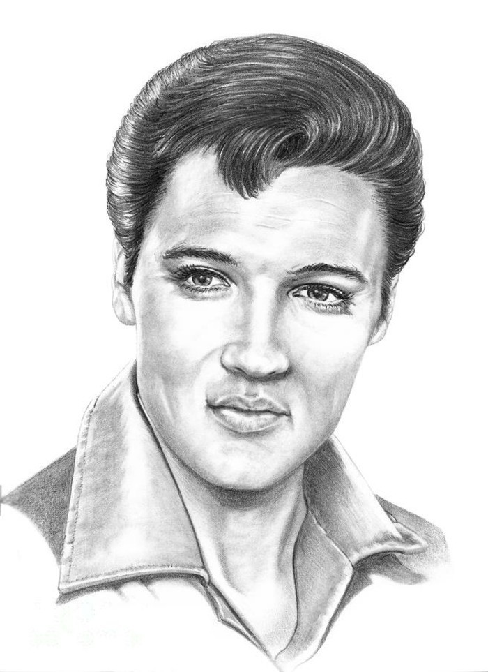 pencil drawing of elvis presley, black shiny gelled up hair, shirt with big collar, white background