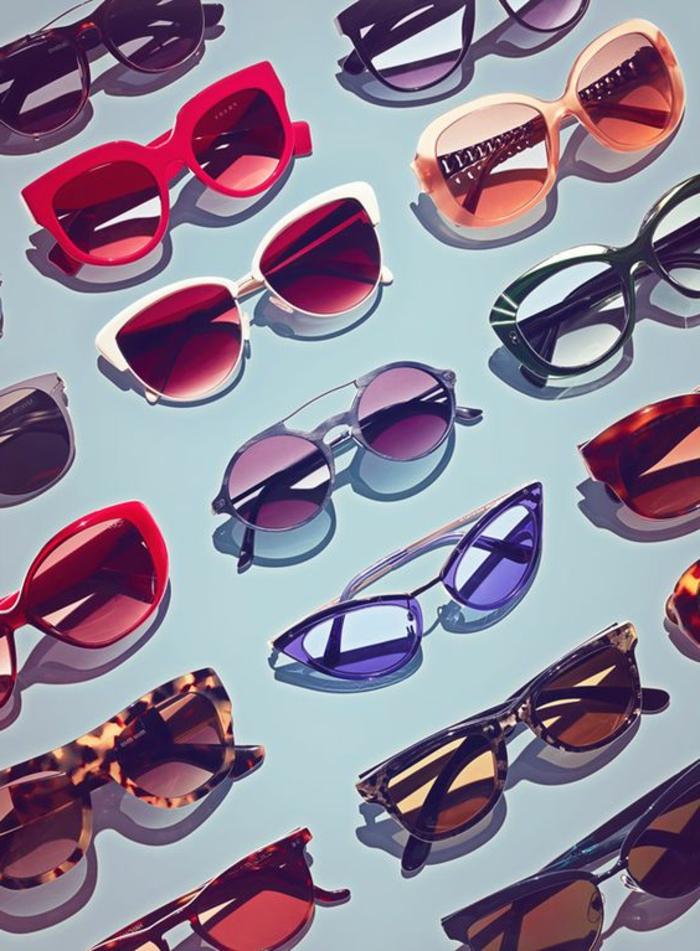 throwback outfits, sunglasses in many different shapes and styles, colorful plastic frames in red blue brown and animal print