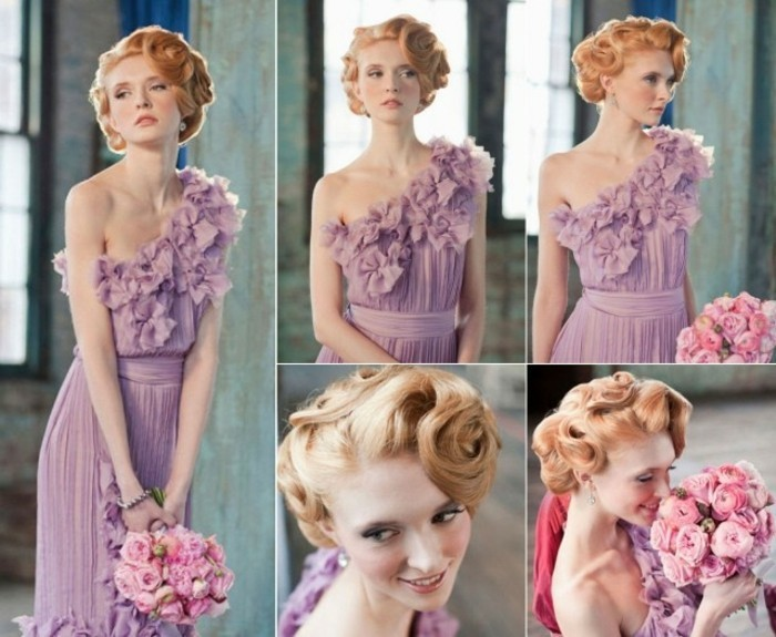five images of a woman, with ginger hair styled in retro updo with curls, pale lilac colored dress with ruffles and pleats, holding bouquet and seen from different angles
