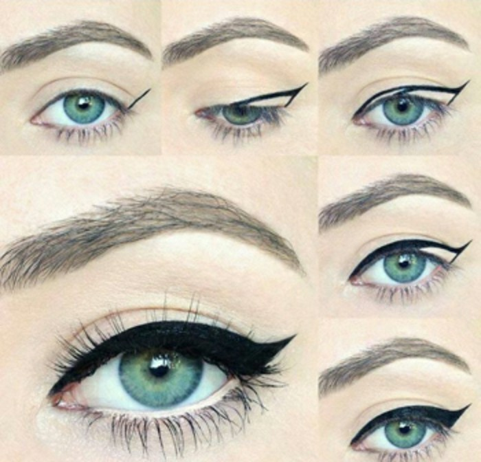 six images of a green eye, putting a thick layer of black eyeliner step by step, pale skin and fake lashes