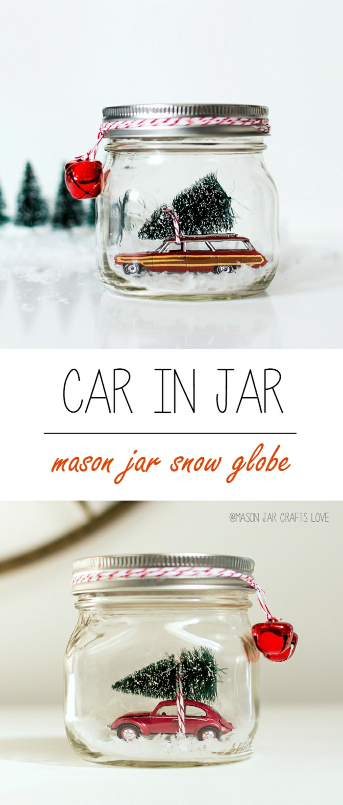 diy gift ideas, two jars filled with fake snow and red retro car toys, with Christmas trees tied to the cars, red and white string tied around the jar lids, small red bells