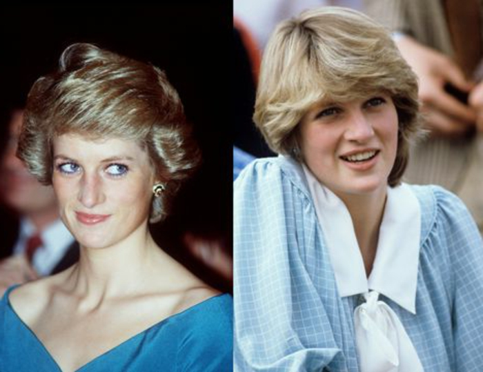 two images of Diana princess of Wales, short 80s hair and blue eyes, blue top and light blue checkered blouse with white collar and pussy bow