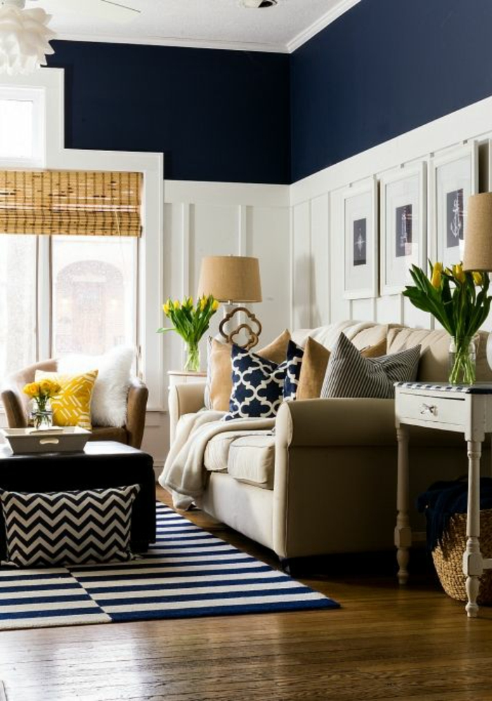 Two Tone Living Room Walls, Dark Navy Blue And White Wall With Plaster  Details, 70 + Living Room Color Ideas For A Stylish, ...