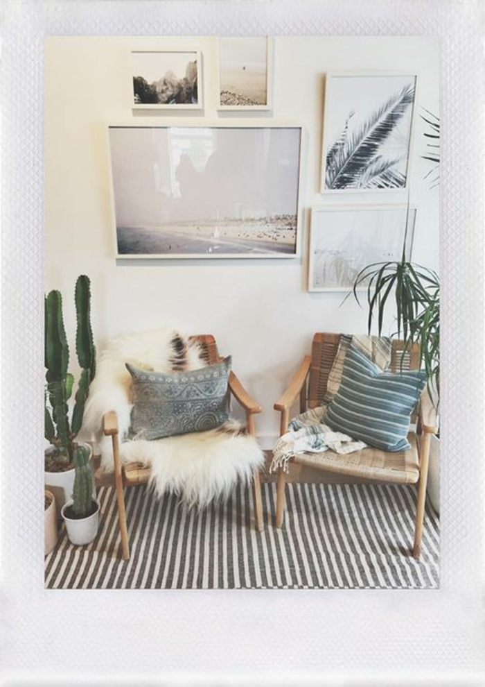 paint colors for living room, five photos framed in white frames, on a cream wall, two light wooden chairs, fluffy cream sheep's hide, blue and cream blanket, cacti and other plants in pots, on brown and cream striped rug