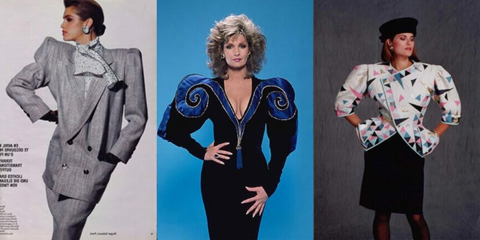 80s clothing, women wearing 80s suits, brunette with hair bun in grey suit with over-sized blazer and shoulder pads, blonde with feathery hair and dress with blue puffy sleeves, woman in over-sized colorful blazer and skirt