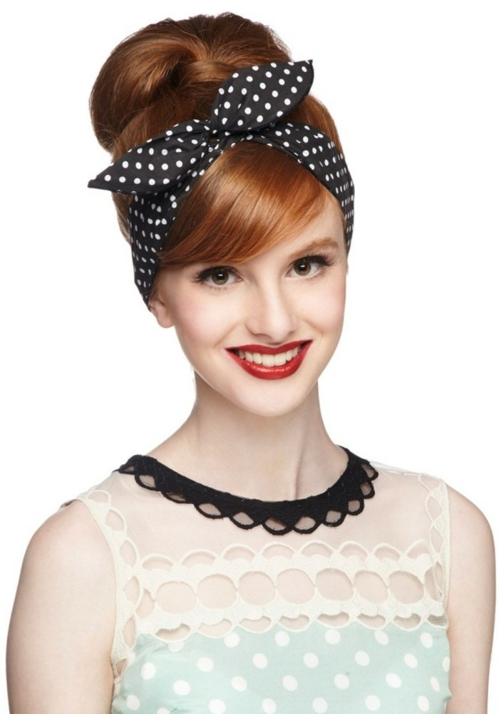 pin up girl hairstyles, smiling copper red-haired woman, with retro-styled hair in a bun and side bangs, wearing black bandanna and a retro dress, red lipstick big white teeth