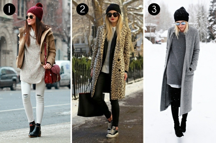 three women wearing winter outfits, white skinny pants and oversized pale cream sweater, large leopard print coat, long grey coat black skinny trousers and beanie hats