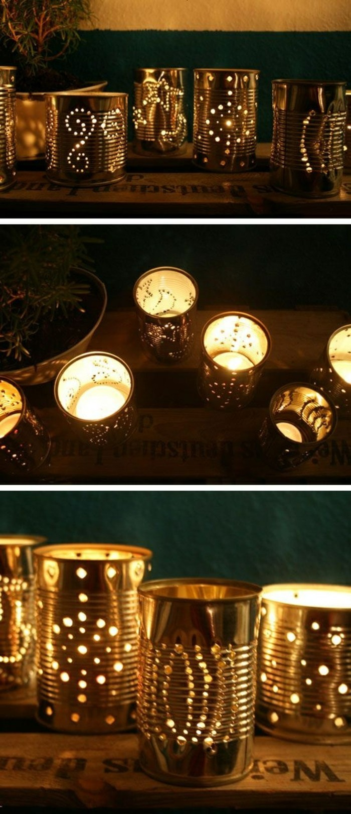 several luminaries made from tin cans with holes forming patterns, small candles placed inside them, close up of the patterns