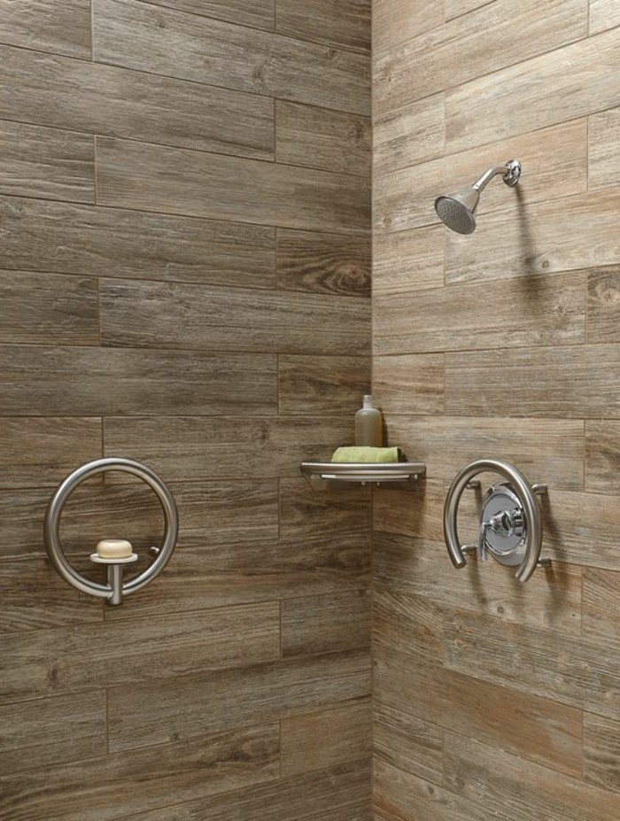 bathroom makeovers, shower cabin with wooden panels, metal shower and round water tap,